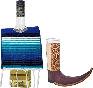 Yani's Gifts 1 Tequila Bottle Serape Poncho and One Leather Mexican Pointy Boots Cowboy Boot Shot Glass (1-Pack, Assorted) for Cinco de Mayo, Day of the Dead or a Mexican Party