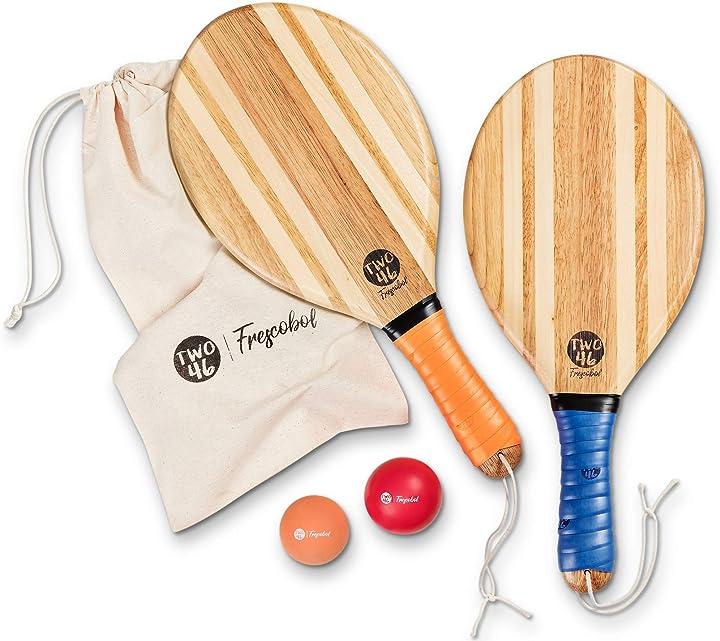 Racchettoni da spiaggia artigianali in legno, scelta della palla per diversi livelli, borsa personalizzata two B0842716QY