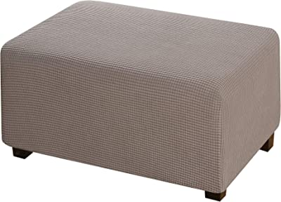 Stretch Ottoman Slipcover Stretch Storage Ottoman Slipcover Protector Spandex Elastic Rectangle Footstool Sofa Slip Cover for Foot Rest Stool Furniture in Living Room, Taupe
