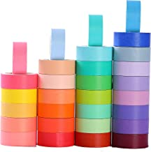 30 Rolls Washi Masking Tape Set, 15mm Wide Colorful Rainbow Tape, Decorative Writable Craft Tape for DIY Scrapbook Designs