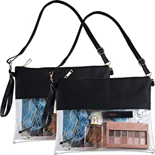 2 Pieces Clear Crossbody Purse Bag NCAA NFL PGA Stadium Approved Clear Tote Bag Zippered Clear Bag with Adjustable Shoulder and Wrist Strap for Sports School Work