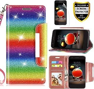 RioGree LG Aristo 2 Case, LG Aristo 3/Rebel 4 LTE/Aristo 2 Plus/Tribute Dynasty/Empire/Zone 4/Phoenix 4/Fortune 2/Risio 3/K8 Plus + 2018 Phone Case, with Screen Protector Kickstand Boys Girls, Rainbow