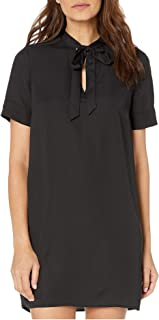 BCBG Max Azria Women's Short Sleeve Tie Neck Mini Shirt Dress