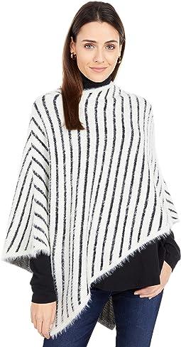 Fuzzy Yarn Striped Poncho