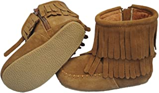 Genuine Suede Toddler Double Fringe Leather Boots (Fawn Brown)