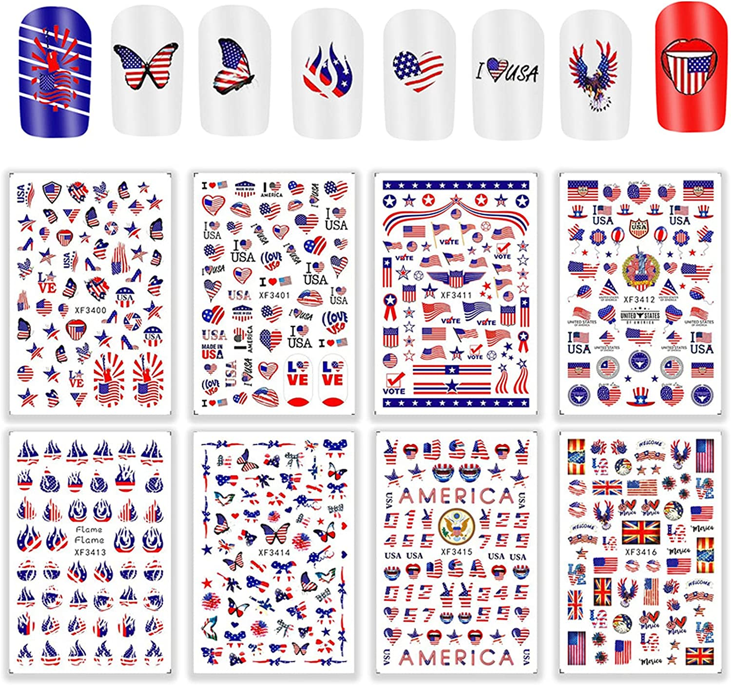 Max 58% OFF 4th of July Nail Stickers Stic Art Decals Patriotic 3D Max 50% OFF