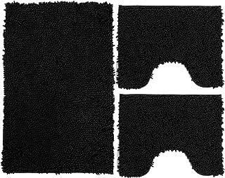 Set de 3 tapis de salle de bain en microfibre, tapis de bain long 50 x 80 cm, 2 tapis pour WC et Water, forme rectangulair...