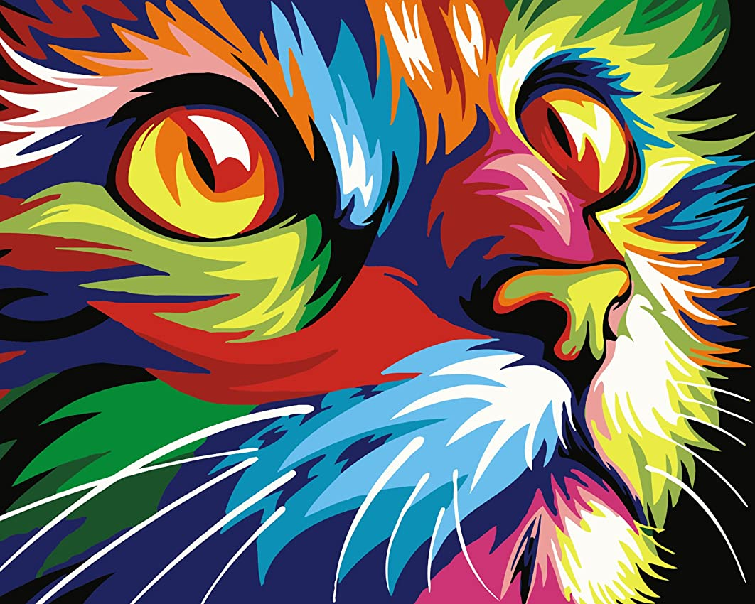 Tonzom Wood Framed Paint by Numbers Kit 16 x 20 inch Canvas DIY Oil Painting for Kids and Adults Beginner with Brushes and Acrylic Paints - Neon Cat