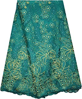 SanVera17 African Lace Net Fabrics Nigerian French Fabric Rope Embroidered and Manual Beading Guipure Cord Lace for Party Wedding 5 Yards (Dark Green)
