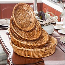 MAHFEI Woven Bread Roll Baskets, Oval Rattan Storage Basket Set Hand-Woven Fruit Bread Snack Storage Basket Kitchen Househ...