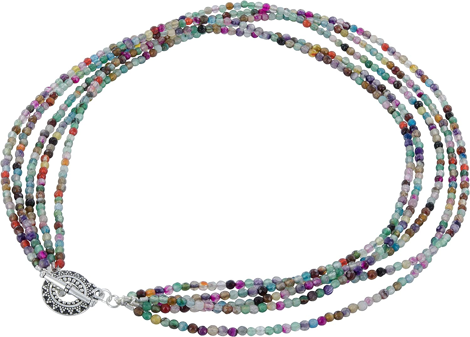 ASHANTI Clearance SALE Limited time Multi Color Colorado Springs Mall Agate Sterling Strand Ne Pewter Silver