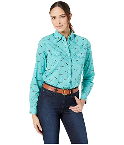 Wrangler Western Long Sleeve Snap Skull Print Shirt (Aqua) Women