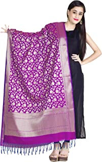 Women's Handwoven Purple Cutwork Brocade Banarasi Dupatta Stole Scarf,Free Size (D117PUR)