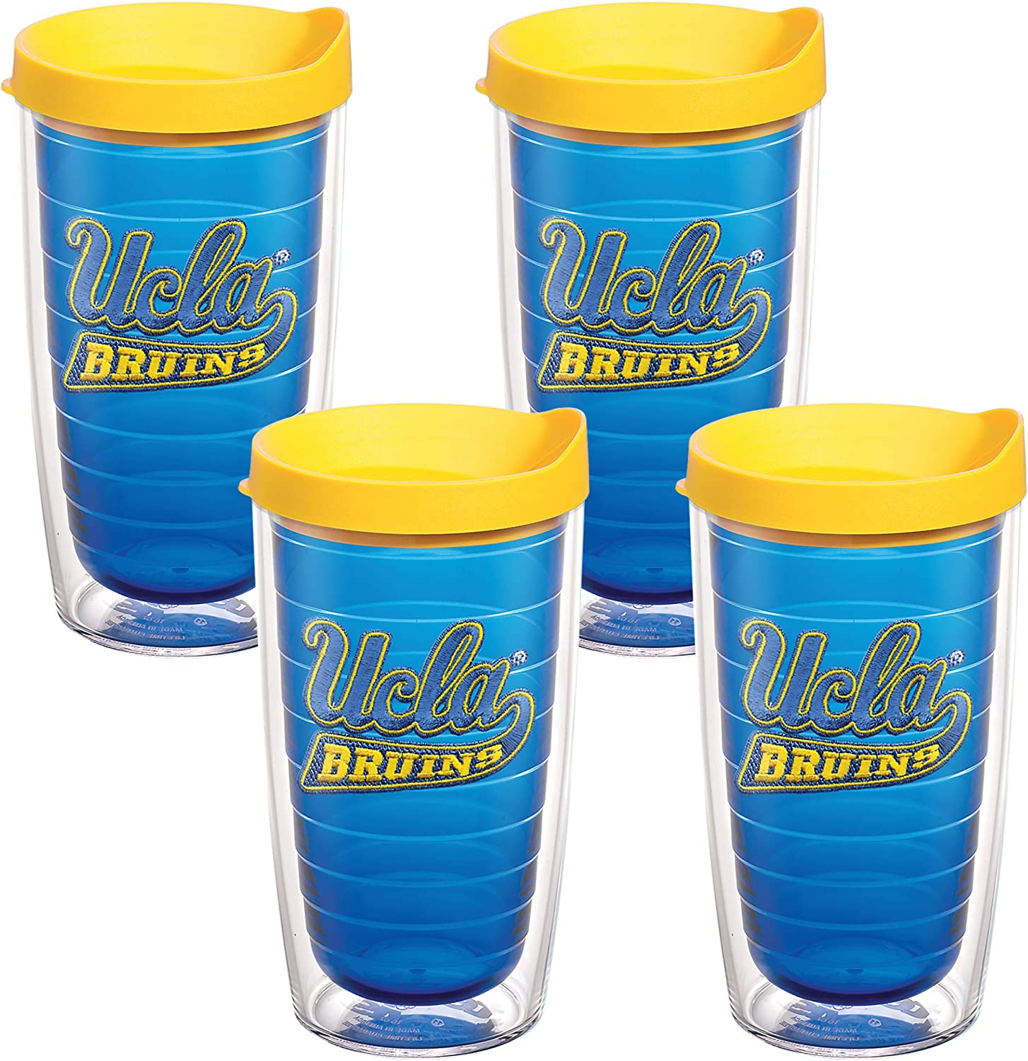 Tervis UCLA Emblem Tumbler with Yellow Lid, Set of 4, 16 oz, Sapphire