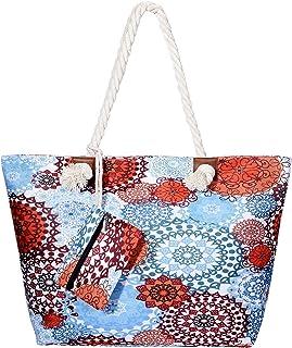 DonDon Große Strandtasche wasserabweisend mit Reißverschluss Retro Chic