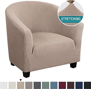 High Stretch Club Chair Cover Tub Chair Cover Armchair Sofa Slipcover with Elastic Bottom Super Soft Jacquard Spandex Skid...