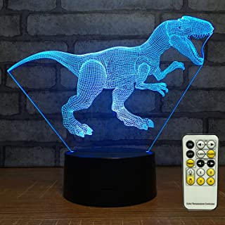 TOORGGOO Dinosaur Night Light 3D Kids Bedside Lamp 7 Colors Change Dinosaur Toys Optical Illusion Night Lights Ideas Birthday Gifts for Kids Girls Boys Remote Control Color Lights (Dinosaur 2)