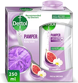 Dettol Pamper Anti-Bacterial Body Wash 250 ml With Puff - Fig & Orchid