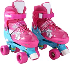 Aceshin Adjustable Inline Skates with Light up Wheels Beginner Roller Skates Fun Illuminating Roller Skates for Kids (US Stock)