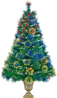 NOMA 4-Foot Pre-lit Fibre Optic Christmas Tree   Color-Changing Lights   Gold Potted