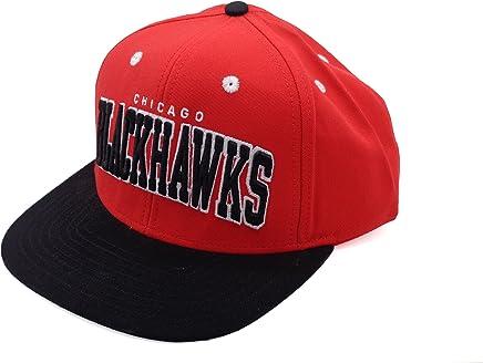 40a36e9489c NHL Chicago Blackhawks Retro Flat Bill Red Black Snapback Hat Cap Reebok