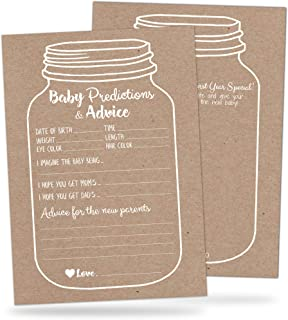 50 Mason Jar Baby Shower Prediction and Advice Cards - Rustic Baby Shower Games for Boys or Girls - Baby Advice Cards with Well Wishes for Baby, New Mommy and Parents - Gender Neutral Baby Shower Game