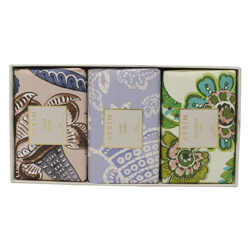 東ティモール幸運なことに手術AERIN Beauty Soap Coffret(アエリン ビューティー ソープ コフレット ) 6.2 oz (186ml) Soap 固形石鹸 x 3個セットby Estee Lauder
