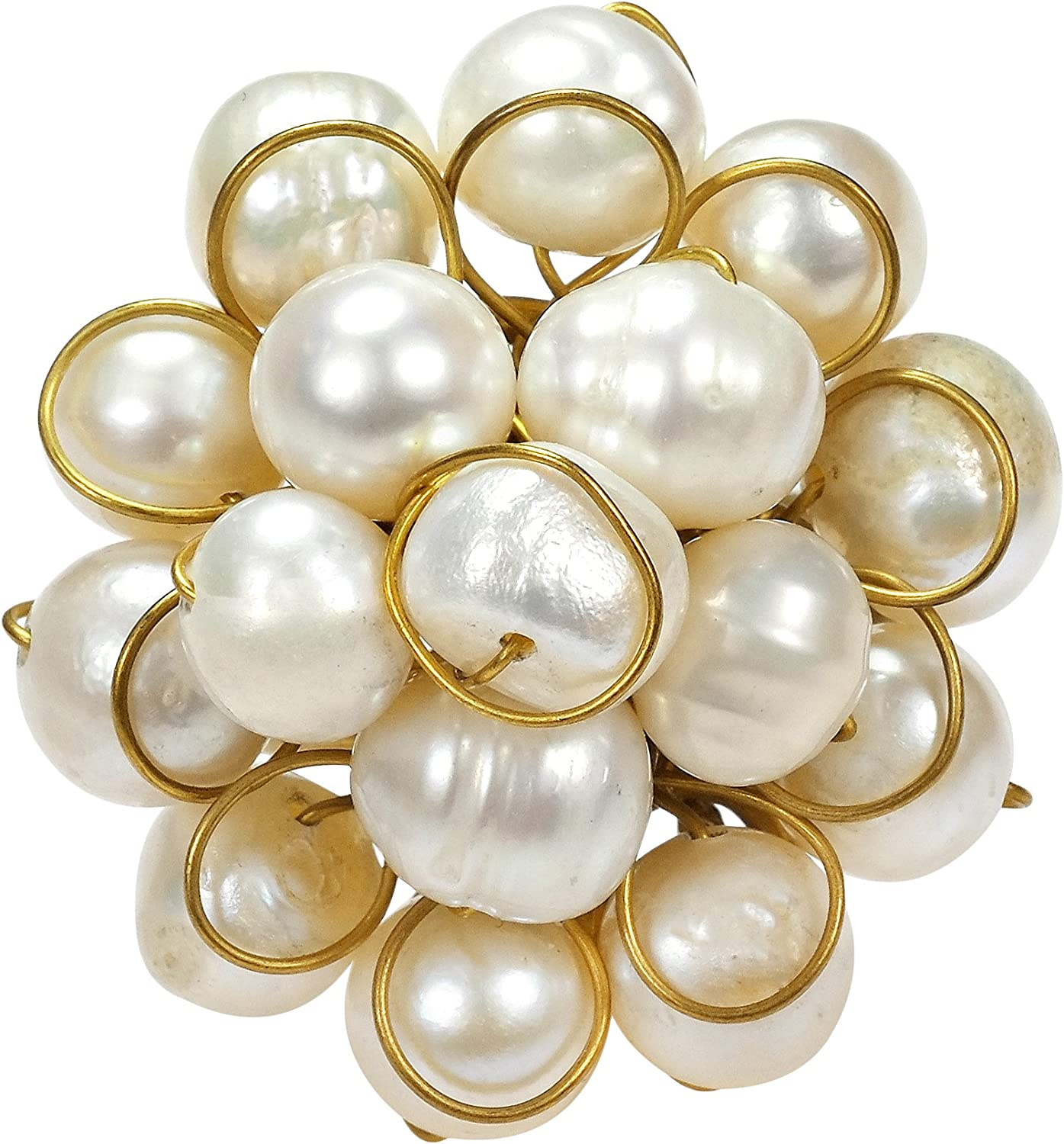 AeraVida Unique Round Front Cluster Cultured Freshwater Pearl Free Size Ring