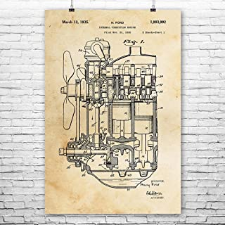 Henry Ford Internal Combustion Engine Poster Print, Car Lover Gift, Auto Mechanic, Repair Shop, Vintage Automobile Vintage Paper (8