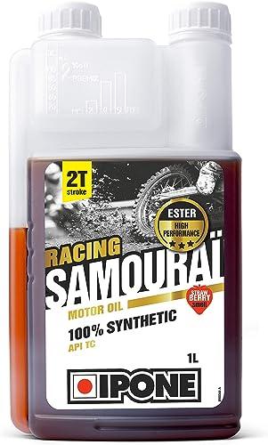Ipone 800090 Huile Moteur Moto 2T Samouraï Racing Option Fraise-100% Synthétique avec Esters-Lubrifiant Haute Perform...
