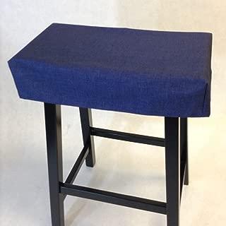 Saddle stool cushioned pad, washable, with or without foam insert. Rectangular backless stool slipcover.