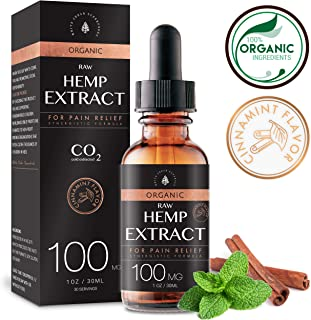 Organic Raw Hemp Oil Extract - 100MG - Cinnamint Flavor - Mushroom Infused for Enhanced Efficacy, Made in USA - Rich in Omega 3-6-9 Fatty Acids, Kosher, Non-GMO. White Cedar Naturals (100MG)