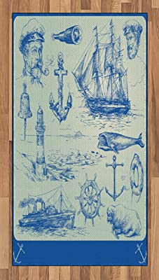 Ambesonne Nautical Anchor Area Rug, Whale Sail Boat Steering Wheel and Old Lighthouse Fishing Theme