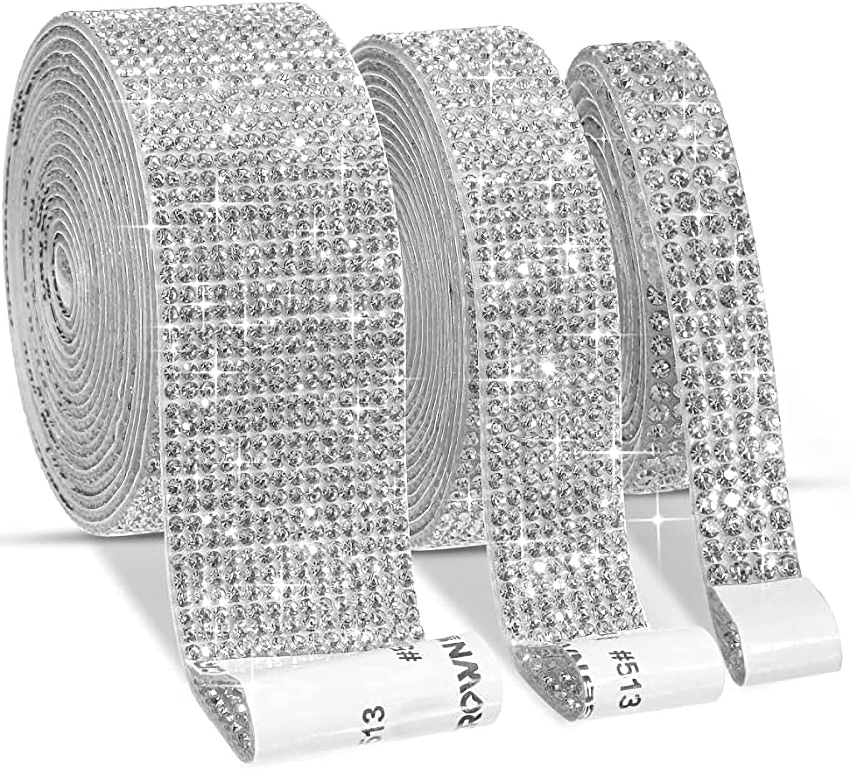 3 Rolls Self Adhesive Crystal DIY Time sale Rhin Over item handling ☆ Ribbon Diamond Rhinestone