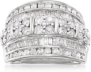 Ross-Simons 2.00 ct. t.w. Baguette and Round Diamond Multi-Row Ring in Sterling Silver