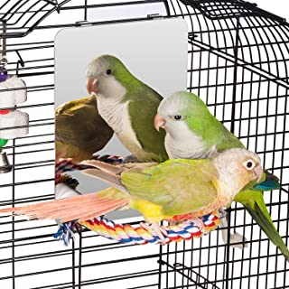 Colorday 7 inch Stainless Steel Bird Mirror with Rope Perch, Bird Toys Swing, Comfy Perch for Greys Amazons Parakeet Cockatiel Conure Lovebirds Finch Canaries