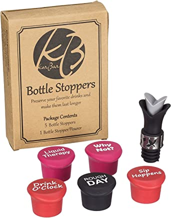 featured product Funny reusable silicone bottle cap stoppers + gift bottle stopper/pourer,  for wine,  beer and others beverage bottles,  beverage saver
