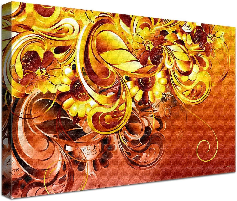 LANA KK Luxus Ausführung Leinwandbild Curvature Sunshine  Abstraktes Design auf 4 cm Echtholz, Orange, 150 x 100 cm B074SVSPM8 | Erste Qualität