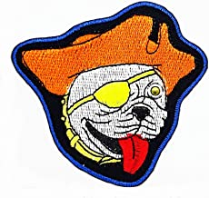 One Eyed Pirate Dog Orange hat Cartoon Kids Patch Craft Embroidered Patches for Bags Jacket Iron on Clothes Jeans Kids Appliques Badge