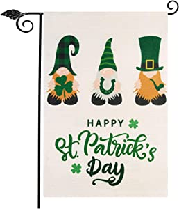 """Unves St Patricks Day Garden Flag 12.5""""x18"""", Vertical Double Sided Gnome Happy St Patricks Day Flag, Evergreen Clover St Patricks Day Yard Flag for Patio Lawn Outdoor House Decor"""