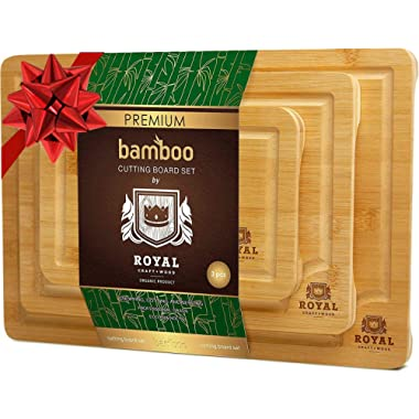 Organic Bamboo Cutting Board with Juice Groove (3-Piece Set) - Kitchen Chopping Board for Meat (Butcher Block) Cheese and Vegetables | Anti Microbial Heavy Duty Serving Tray w/Handles