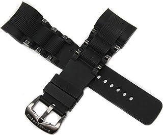Swiss Legend 26MM Black Silicone Watch Strap Stainless Gunmetal Buckle fits 47mm Commander Pro Watch
