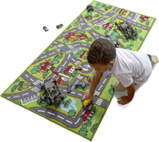 Amy & Delle Kids Rugs -XLarge Play Mat Rug - Thick Woven Carpet, Anti Skid, Colorful City Street Theme for Playing with Cars and Toys – Promotes Educational and Imaginative Fun Play