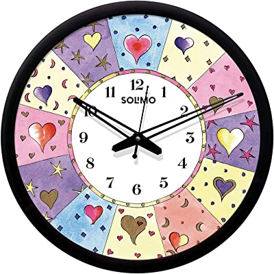Amazon Brand - Solimo Plastic & Glass Silent Movement Heart Emoji Wall Clock (Black Frame, 12-inch )