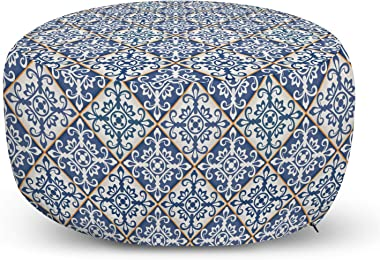 Ambesonne Moroccan Ottoman Pouf, Azulejo Ceramic Pattern with Rectangle Shapes with Diagonal Square Design, Decorative Soft F