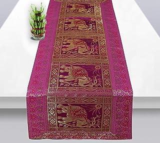 Real Online Seller Rajasthani Hand Art Work Elephant Design Silk Table Runner & Tablecloth 58 x 16 Inch