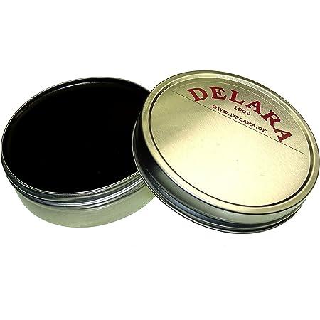 DELARA Graisse pour Cuir de Haute qualité, nourrit, imprègne et entretient Les Chaussures, Sacs, selles d'équitation et Meubles en Cuir, boîte de 75 ML - Couleur: Noir