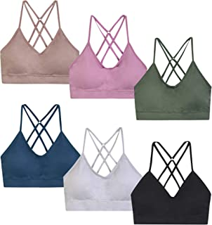 ET TU Women's Removable Pads Adjustable Straps Criss Cross Back Seamless Sports Bra (6 Pack)