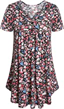 DSUK Women's Split Neck with Buttons Long Sleeve Pleated Floral Casual Tunic Tops