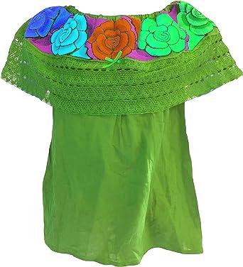 Autentic Blusa Mexicana para Mujer con Hombros Descubiertos Bordados en telares de Artesanos Mexicanos